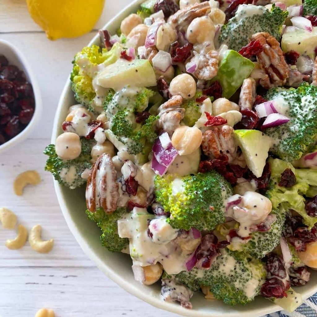 Cranberry Broccoli Salad with Poppy Seed Dressing [Oil Free]