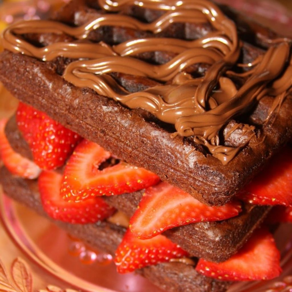 Nutella Brownie Waffle Cake With Strawberries